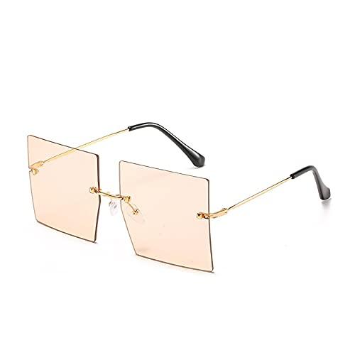 Gafas de Sol Sunglasses Gafas De Sol Marrones De Gran Tamaño Gafas De Sol Cuadradas Sin Montura para Mujer Gafas De Lujo Grandes para Hombre Gafas Uv400 Gafas De Moda GOL