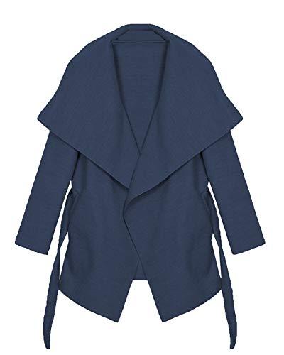 Kendindza - Cappotto trench da donna con cintura, taglia unica, lungo e corto Blu navy corto. Taglia unica