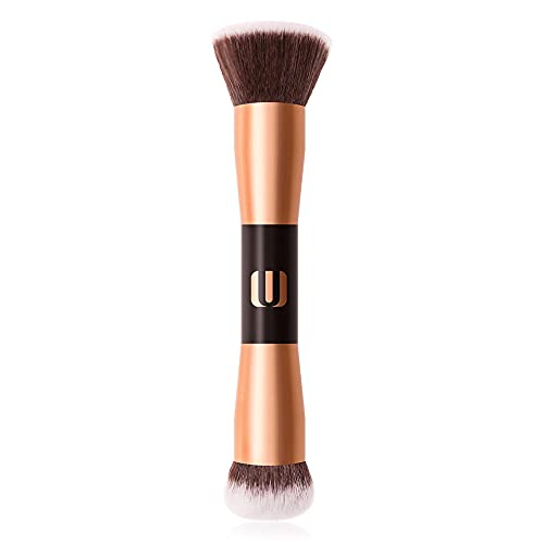 SXPSYWY Cepillo de maquillaje portátil de doble cabeza Cepillo de polvo grande Polvo Blush Blush Cross-Border Beauty Herramienta profesional-Oro rosa