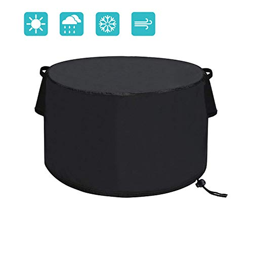 TheElves 40 inch Patio Round Fire Pit Table Cover, Heavy Duty 420D Polyester Waterproof Windproof for Outdoor Furniture