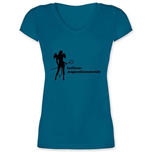 JGA Junggesellenabschied Frauen - Teuflischer Junggesellinnenabschied rot - 3XL - Türkis - Hölle - XO1525 - Damen T-Shirt mit V-Ausschnitt