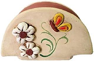 Le Ceramiche Del Re, Portatovaglioli Ceramica, Portatovaglioli Cucina da Tavolo con Fiori e Farfalle
