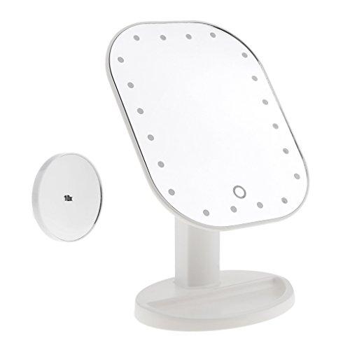 MagiDeal Professionnel Miroir de Maquillage sur Pied Tactile avec Lumière LED + Miroir Grossissant 10x pour Rasage, Appilcation Eyeliner/Mascara/Soins de Beauté - Blanc