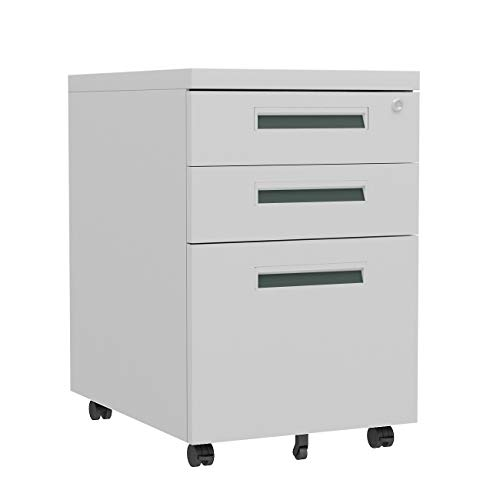 SogesHome Stahl Rollcontainer mit 3 Schubladen Abschließbarer Büroschrank, Schrankkorpus Vormontiert, Hängeregistratur - unten Schreibtisch für Zuhause,NSD-ZHCBN003-W