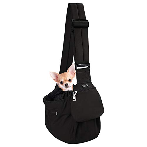 SlowTon Pet Sling Carrier, Comfortable Hard Bottom Support Dog Papoose Sling Adjustable Padded Shoulder Strap Hand Free Puppy Cat Carry Bag with Drawstring Opening Zipper Pocket Safety Belt (S, B)