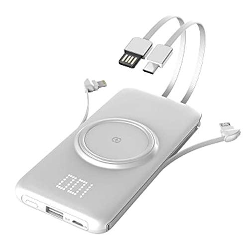 Tcbz Cargador portátil Wireless Power Bank Incorporado 4 Cables 20000Mah Batería Externa con Pantalla LED y 5 Salidas y 2 entradas Cargador de teléfono portátil para iPhone Samsung Huawei iPad Et