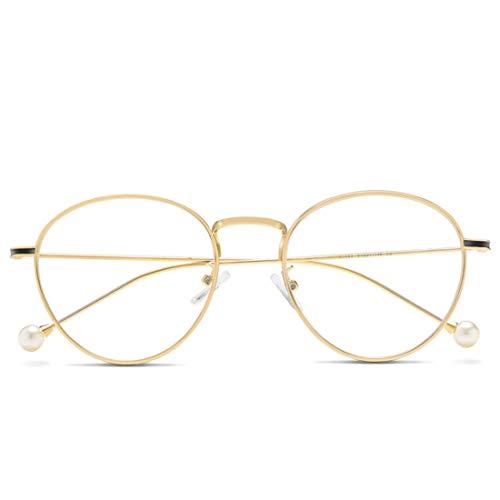 Jiuyizhe Anti Blue Light Glasses Fashion Pearl Temple Glasses für Frauen (Color : Gold)