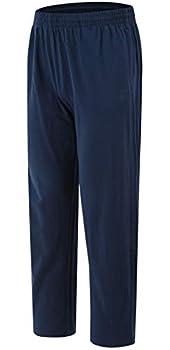 JINSHI Men's Sweatpants Active Open Bottom with Pockets Cotton Jogger Pants 2XL,Navy Blue