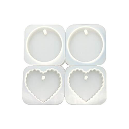 CARRYKT 4 Pezzi/Set Fai-da-Te in Cristallo epossidico Appeso Gioielli Fare Stampo a Forma di Cuore Tondo Onda stampi Ciondolo Fatti a Mano Resina Stampo in Silicone Gesso