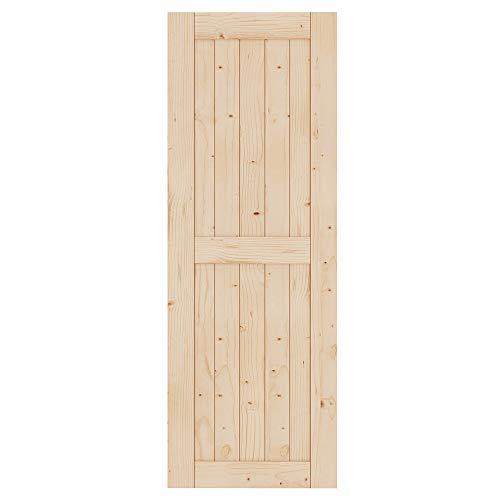 EaseLife 30in x 84in Sliding Barn Wood Door Slab,Solid Nature Spruce,DIY Unfinished Panel,Interior Door,Easy Install,H-Frame (Fit 5FT Track Kit)