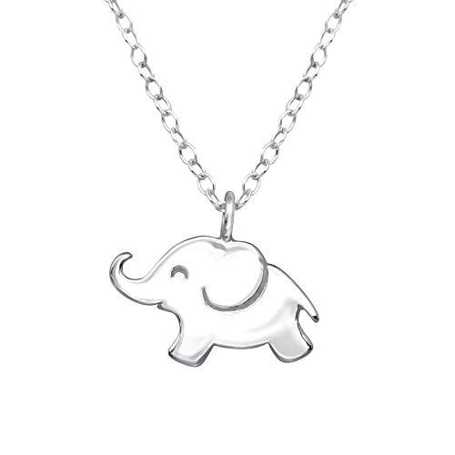 Monkimau Mädchen Halskette Elefant Anhänger aus 925 Sterling Silver echt Silber mit 45cm Kette