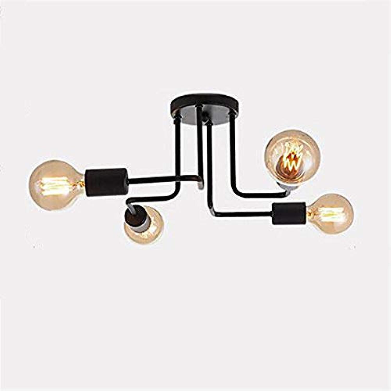 Eisen Deckenleuchte -4-Lampenhalter Schmiedeeisen Lampe Kronleuchter Pendelleuchte 8 Lampen Schuppen Villa Garage Beleuchtung Leuchten