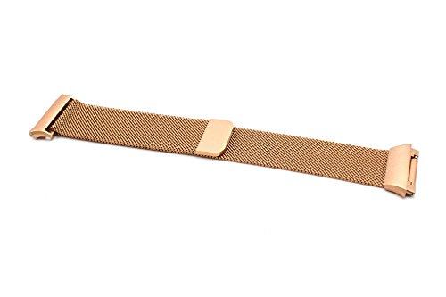 vhbw Ersatz Armband kompatibel mit Fitbit Ionic Fitnessuhr, Smartwatch - 23,5 cm Edelstahl Kupfer Magnetverschluss