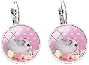 Hamster-Clip-Ohrringe, Modeschmuck, Silberfarben, Glas-Cabochon, Kuppel, handgefertigt, Kunstmuster, Freundschafts-Schmuck