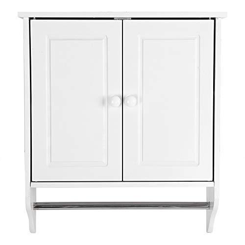 Yosoo Bathroom Cabinets Wall Mount Wooden Organizer Towels Clothes Storage Cabinet Door Shelf Bathroom Kitchen Laundry White 48X16X 55CM