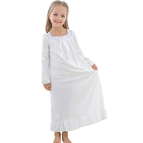 Nachthemden Mädchen Langarm Weich Familien Schlafanzug Lang Nightdress Sleepwear