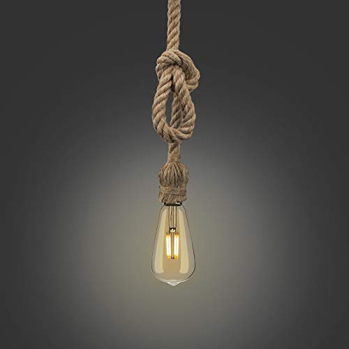 Lámpara de Cuerda de Cáñamo, Lámpara Cuerda Vintage para Comedor, Sala, Restaurante, Bar y Cafetería, Base E27(1 cuerda)