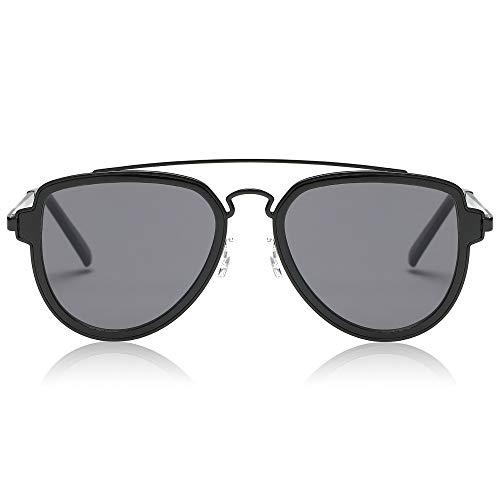 SojoS Classic Aviator Sunglasses for Men and Women Mirror Lens Double Bar SJ1051 Matt Black Frame/Grey Lens