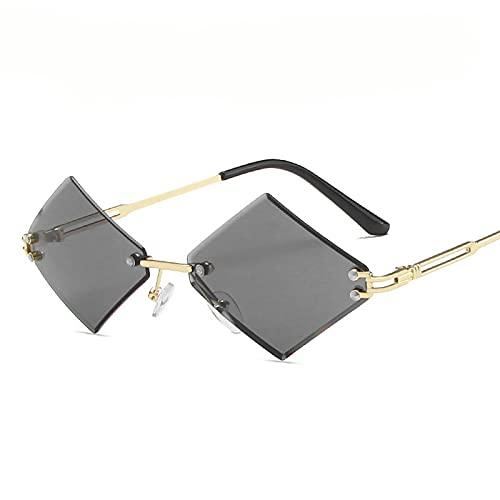 Único Gafas de Sol Sunglasses Gafas De Sol Sin Montura Punk para Mujeres Y Hombres, Gafas Cuadradas, Pequeños Marcos De