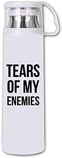 XiErSi Funny Thermos Cup - Tears Of My Enemies - Stainless Steel Vacuum Travel Mug White 14oz/350ML