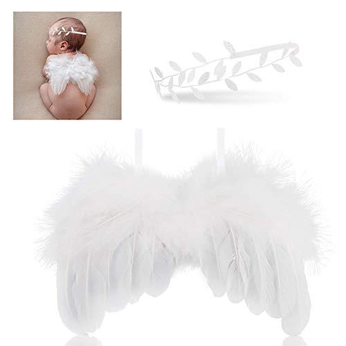 Baby Fotoshooting Kostüm neugeborenen fotografie requisiten, Feder baby Engel Flügel mit Stirnband Outfits, Baby fotografie zubehör