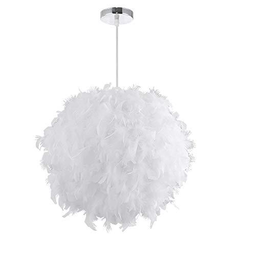 Lustre Suspension en Plume, Lustre a Plume, Diamètre 30cm E27 - Blanc