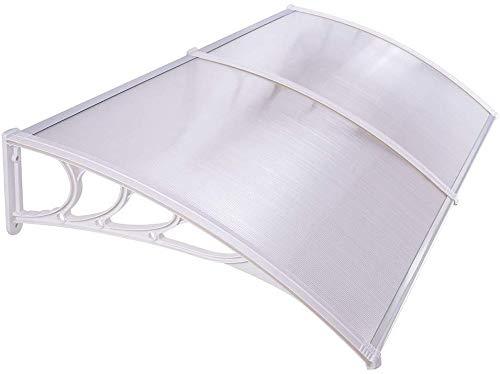 HENGMEI 100x300cm Vordach Haustür Überdachung Haustürvordach Pultvordach Türdach Regenschutz, Transparent Kunststoff, Weiß