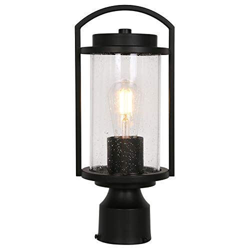Outdoor Post Light Fixture, Exterior One-Light Post Top Light, Matte Black Pillar Light with LED Bulb, Aluminum Post Lamp with Bubble Glass Shade for Patio, Pathway, Backyard, ETL Listed