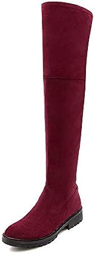 HAOLIEQUAN VêteHommests Femme sur Les Bottes Femmes Chaussures De Plate-Forme d'hiver Fermeture éclair Bottes Moto Grande Taille 34-43