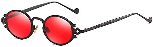 ZYIZEE Gafas de Sol Gafas de Sol ovaladas Retro Doradas para Hombres Marco de Metal Negro Rojo Marrón Mujeres Gafas de Sol Estilo Punk Artículos de Regalo-Black_with_Red