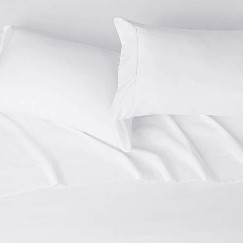 Amazon Basics – Juego de sábanas de microfibra, 100% poliéster, blanco brillante, Matrimonio doble