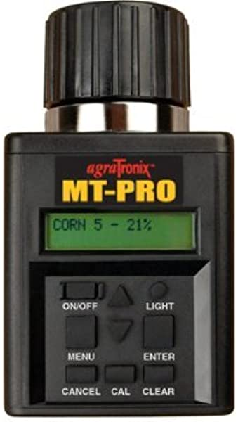 Agratronix MT Pro Portable Moisture Tester For Grain With Digital Meter Readout And 4 Pak 9V Batteries Grain Tester With Carry Case