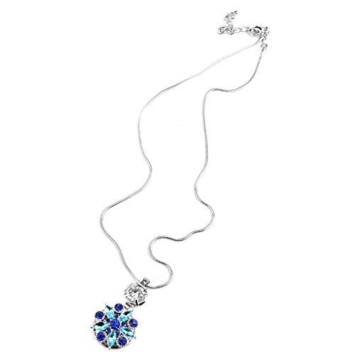 dailymall Strass Blumen Form Anhänger Für Noosa Halskette Schmuck DIY Anhänger Blau