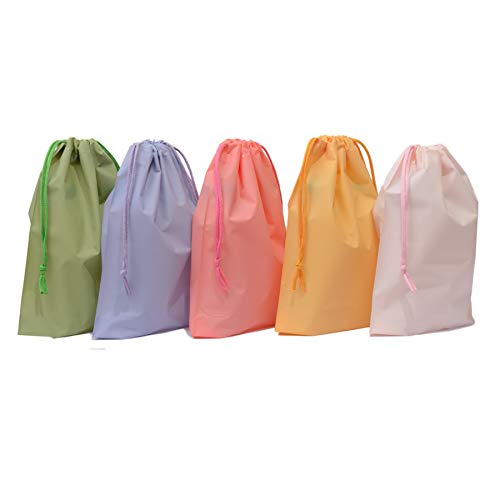 25ct Drawstring Treat Cello Bags for Kids Party Favors Goodies Gift Wrapping, Gym Sports Travel Garments Organizing Storage, Assorted Colors Plastic Bags Bottom Gusset (6'' x 9'')