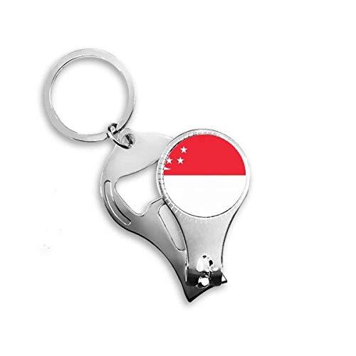 Nagelknipser, Schlüsselanhänger, Flaschenöffner mit Singapur-Flagge, Asien