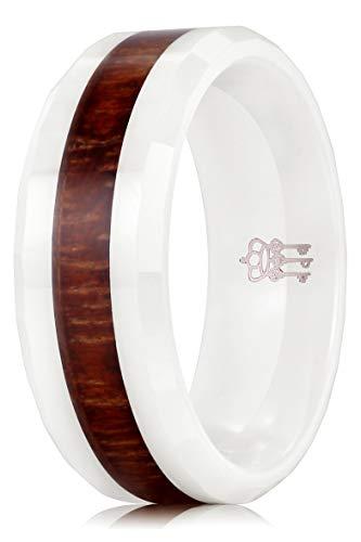 THREE KEYS JEWELRY 8mm White Ceramic Wedding Ring with Koa Wood Inlay Men's Women's Wedding Band Engagement Ring Flat Top Bevel Edge Comfort Fit Size 7.5