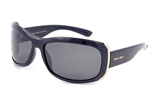 Roberto Marco - Gafas de sol polarizadas para mujer conductoras, marco de plástico negro, lentes gris claro, antirreflejos, edición limitada, filtro categoría 3, protección UV400 ✅