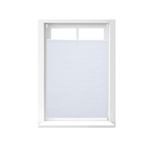 Relaxdays Pleated Blinds, No-Drilling, Adhesive Klemmfix, Folding Roller, Transparent, Shades, White, 80 x 130 cm