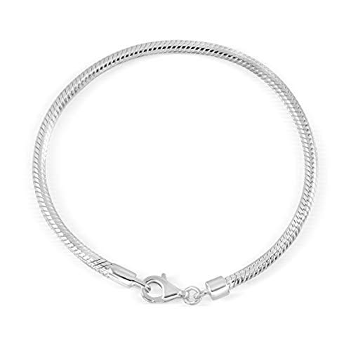 Sistakno Schlangen-Armband Sterling-Silber 925 3 mm 19 cm lang für Charm-Perle