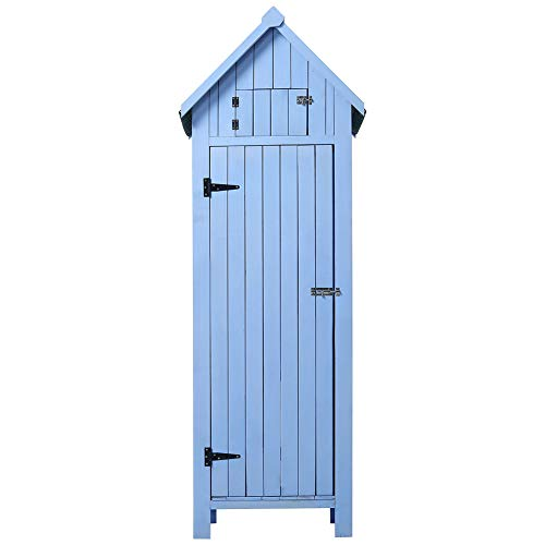 DKIEI Garden Shed Wooden Outdoor Tool Storage Cabinet Furniture Waterproof with Roofing Felt for Patio, Tool or Garage Organization, 65 x 45 x 179cm, Blue