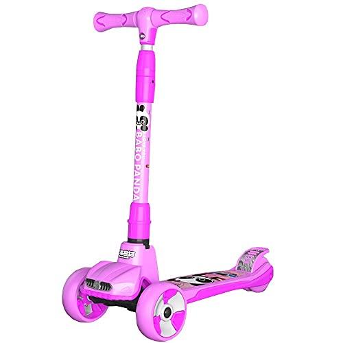 WHOJS Patinete Ruedas Flash PU Scooters para niños Altura Ajustable 65-86 cm para 2-12 años Construcción Ligera(Color:Rosa)