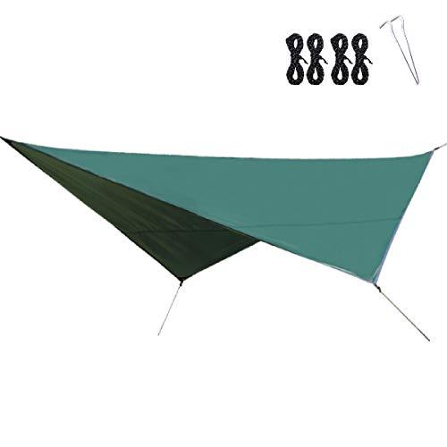 TRIWONDER Lona de Camping Impermeable Refujio Toldo de Carpa para Tienda de Campaña Hamaca Senderismo Picnic Barbacoa (Verde + Accesorios)