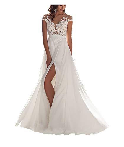 Ieuan Women's Sexy Chiffon Beach Wedding Dress Long Tail Gown Bride Dresses
