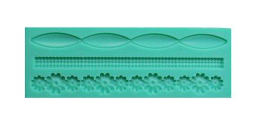 Moule en silicone pour fondant, sucre en forme de bordure et fleurs – Moule pour savon et cire – Grecque