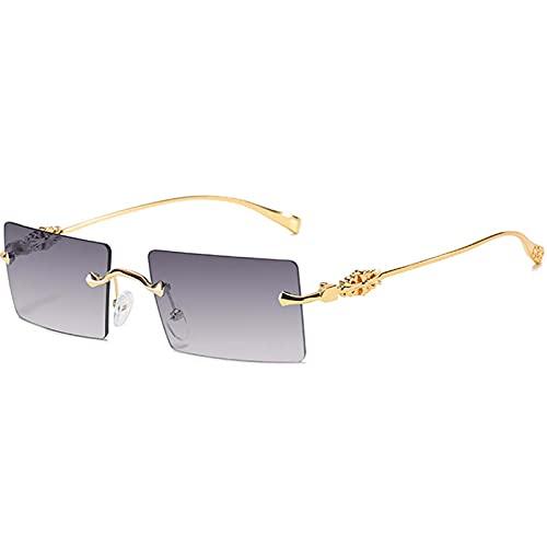 AMFG Gafas de sol sin montura, marco cuadrado para hombres y gafas de sol para mujer, espejo de conducción de viaje de sombrilla de moda (Color : C)
