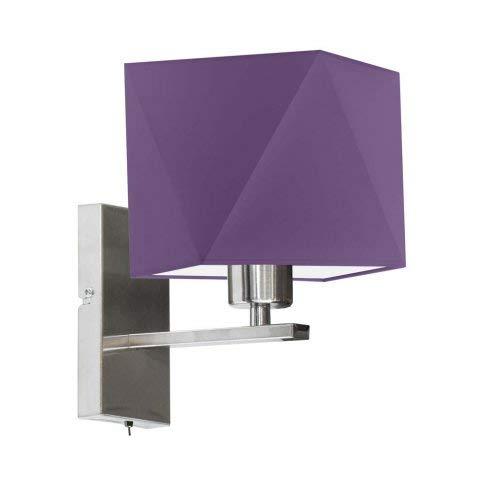 ONTARIO Lámpara de pared con interruptor, pantalla lila, marco de acero cepillado