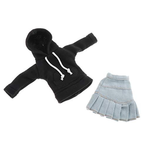 SM SunniMix Schöne Hoodie Jeansrock Outfits für 1/6 Blythe Puppen