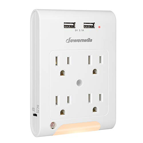 of foreign plug adapters dec 2021 theres one clear winner DEWENWILS 4-Outlet Extender, Wall Outlet Adapter with 2 USB Ports(3.1A Total), Light Sensor Night Light, 1080 Joules Surge Protector, ETL Listed, White