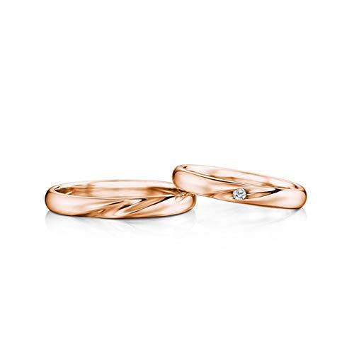 KnSam Damen Ring Zum Gravieren Ehering 18 Karat Wellenmuster Eingelegter Diamant 0.04Ct Für Partner Ring Paarpreis Rose Gold
