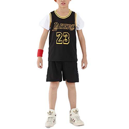 LIZTX Camiseta De Baloncesto para Niños Lakers # 23 Lebron James Falso Jersey De Dos Piezas Uniforme De Baloncesto Traje De Manga Corta Traje De Entrenamiento para Niños Conjunto De Ropa